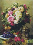 Still Life with Roses, Grapes and Plums